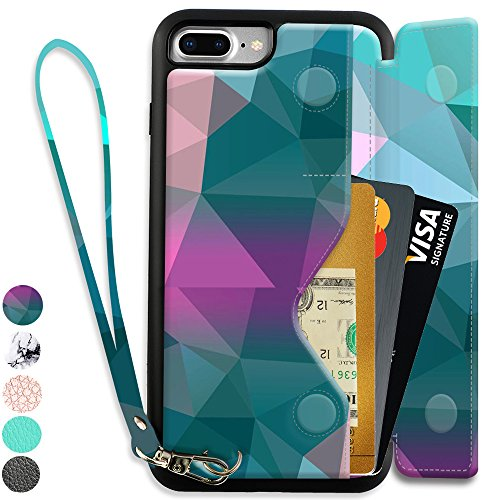 iPhone 7 Plus Case, ZVEdeng iPhone 8 Plus Wallet Case with Card Holder, PU Leather iPhone 8 Plus Printed Case, iPhone 7 Plus Card Case Shockproof Cover with Money Pocket - Mixcolor