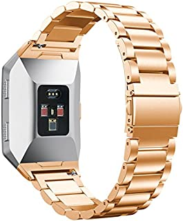 QGHXO Metal Band for Fitbit Ionic, Replacement Metal Watch Band with Folding Clasp for Fitbit Ionic