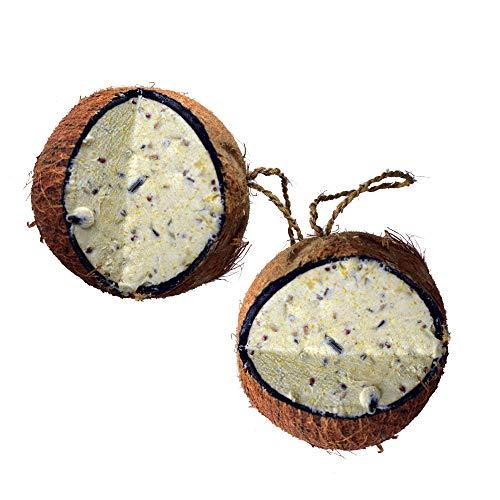 Lyra Pet® 4 Stück ganze Kokosnuss V-Cut gefüllt Vogelfutter Meisenfutter Winter
