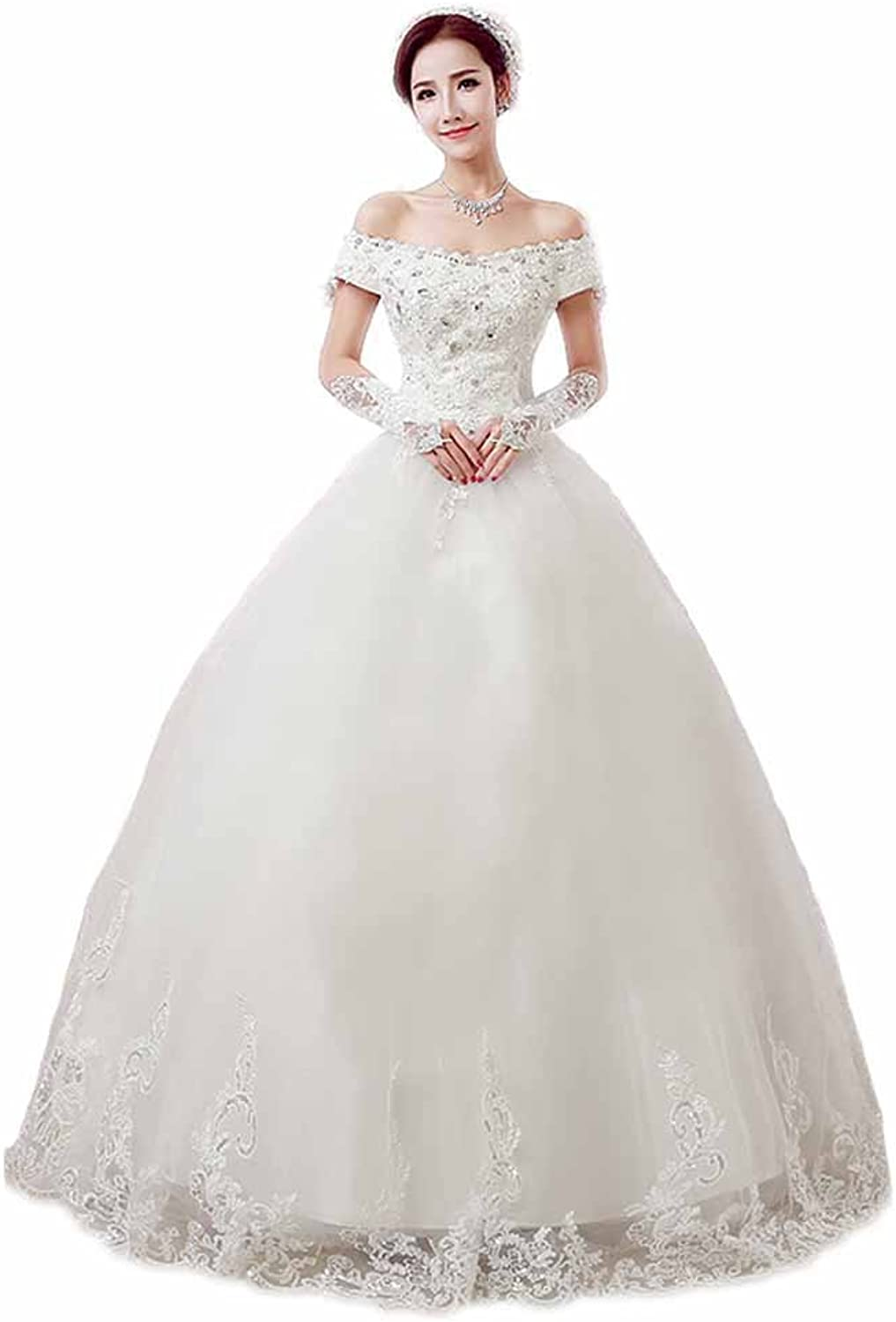 AK Beauty Women's Cap Sleeve Appliques Ball Gown Wedding Dress
