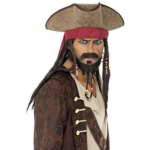 NET TOYS Chapeau de Pirate avec Cheveux Chapeau Pirates Brun Chapeau Jack Sparrow Chapeau Pirate déguisement Pirate Accessoire Pirate Corsaire Couvre-Chef