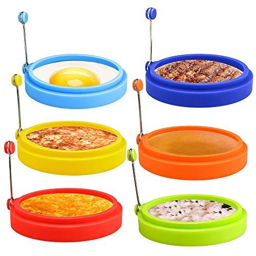 E-More - 6 anelli per uova in silicone da 10,2 cm, per friggere e cuocere le uova, stampo per uova antiaderente, per pancake, McMuffin