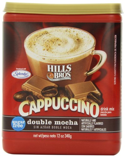Hills Bros Instant Cappuccino Mix SugarFree Double Mocha Cappuccino Mix – Easy to Use Enjoy Coffeehouse Flavor from Home – Frothy Decadent Cappuccino with 0% Sugar and 8g of Carbs 12 Ounces