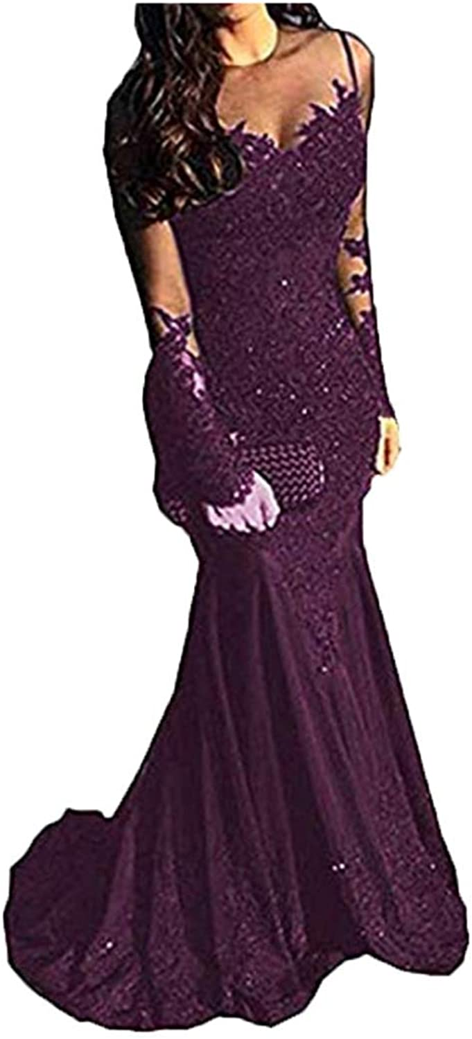 FWVR Women's Lace Formal Evening Gowns Long Sleeves 2019 Mermaid Prom Dresses Long