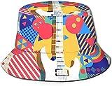 DUTRIX Parte Superior Plana Transpirable Unisex exótico patrón de Flamenco Rosa Sombrero de Cubo Sombrero de Pescador de Verano-Guitarra eléctrica Colorida-Talla única