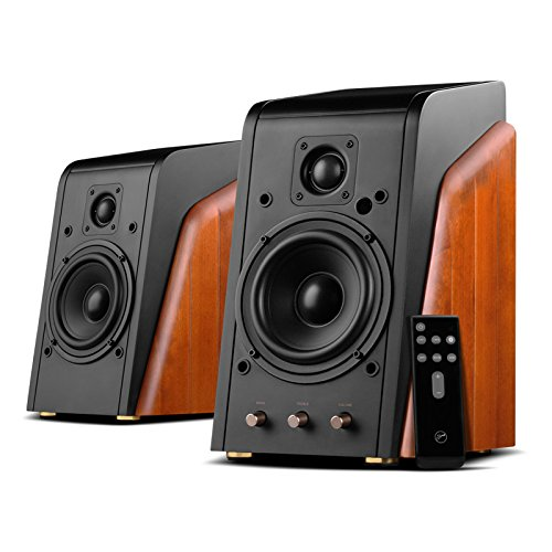 Swans Speakers M200MKIII+ Powered 2.0 Bookshelf Speakers - Bluetooth Connection - 1.1 Inch Dome Tweeters - 5.25 Inch Midbass Drivers - RMS 120W - Solid Wood Cabinets