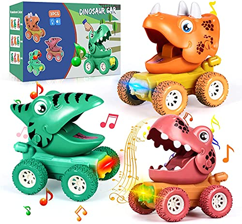 Coche de Juguete de Dinosaurios 3 Piezas Dinosaurio Pull Back Coches con Luces & Rugido De Dinosaurio Coches Juguete Regalos para Niños Niñas 3 4 5 6 7 Años