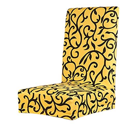 Copertura della sedia Fodere coprisedia per sala da pranzo Elastica Copertura Custodia protettiva staccabile stampato floreale - giallo