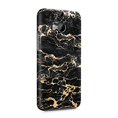 Black Onyx & Gold Strips Marble Print Hard Plastic Phone Case for HTC One M8