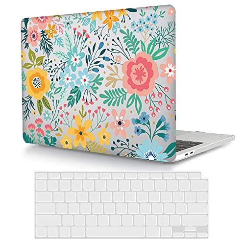 ACJYX Funda compatible con MacBook Pro 15 Retina (Modelo: A1398, versión antigua 2015 2014 2013 2012), carcasa protectora de plástico rígida + cubierta de teclado de color flor
