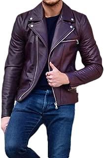Macondoo Men's Fall/Winter Moto Overcoat Faux Leather Lapel Coat Zipper Jacket