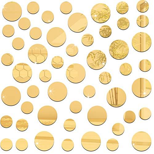 Puntini da Parete Oro Oro,QSXX 6 Set Incollare Decorazione di Puntini a Parete Bello e Facile da incollare Ecalcomanie da Muro a Pois Oro Per Arredare Il Soggiorno e la Camera da Letto 2 Taglie D'oro