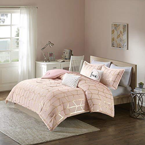 Marvelous Intelligent Design Raina Metallic Print Comforter Set Blush/Gold Twin/Twin  XL