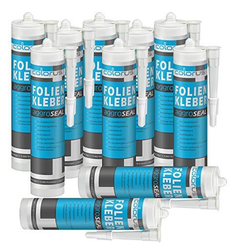 10 x Colorus Profi Folienkleber 310 ml | AggroSeal Dichtkleber Dichtmasse bauelastisch für Dampfbremsfolie Dampfsperrfolie Dampfsperre Dampfbremse | Folien-Anschlusskleber mit extrem hoher Haftung