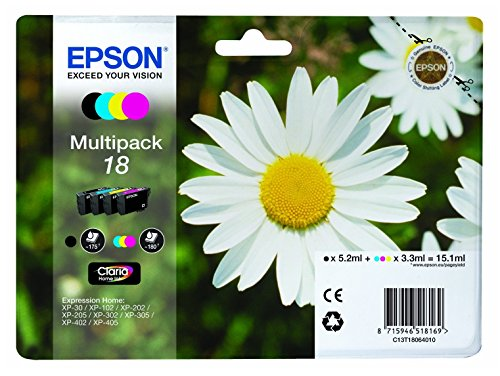 Epson 18 Claria Home Cartouches d'encre Multipack 4 couleurs Black, Cyan, Magenta, Yellow Epson XP-30/XP-102/XP-202/XP-205/XP-302/XP-305/XP-402/XP-405 Rendement standard 192 x 141,75 x 45 mm