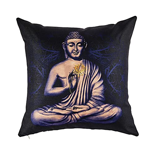 Caifujiqi Throw Pillow Covers Seated Buddha in a Lotus Pose Decorative Pillow Case Square Pillow Cover Printed Pillowcase with Zipper for Living Room Sofa Couch Outdoor 18x18 Inch