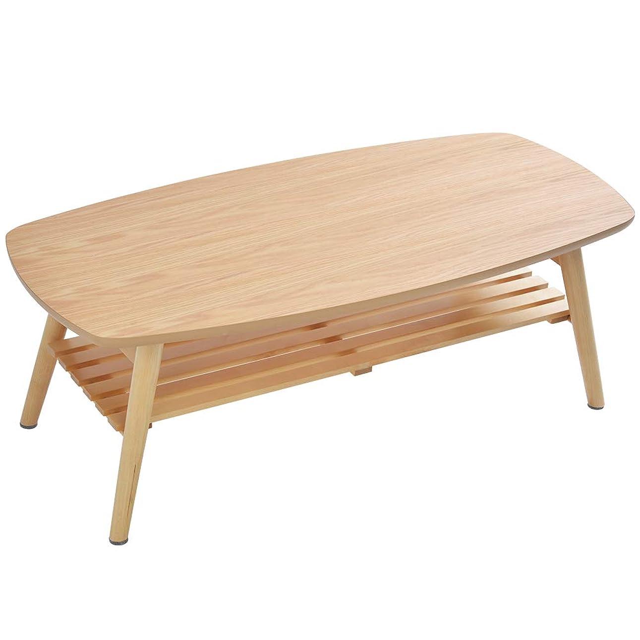 資本動揺させるリールOSJ ローテーブル 折りたたみテーブル コンパクト 木製 棚付き 完成品 軽量 ナチュラル 90×35×31