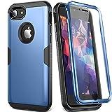 YOUMAKER Funda para iPhone 8 & iPhone 7, Protector de Pantalla Integrado, Cuerpo Completo, Resistente, A Prueba de Golpes, Carcasas para iPhone 8/7 de 4,7 Pulgadas, Azul