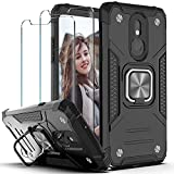 YmhxcY Compatible for LG Stylo 5 Case,Stylo 5 Plus/Stylo 5V /Stylo 5X case with Tempered Glass Screen Protector [2 Pack], Rotating Holder Non-Slip Hybrid Rugged Case for LG Stylo 5-KJ Black