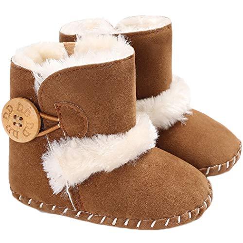 Tcesud Baby Girls Boys Winter Warm Fleece Booties Baby Snow Boots Soft Sole Newborn Infant Prewalker Baby Snow Boots(6-12 Months,Brown)