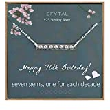 EFYTAL 70th Birthday Gifts for Women, 925 Sterling Silver Seven CZ Bar Necklace For Her, 7 Decade Jewelry 70 Years Old