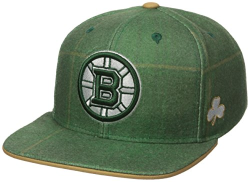 Reebok NHL Vancouver Canucks Adult Men NHL SP17 St. Patrick's Day Plaid Flat Brim Snapback Hat,OSFM,Green