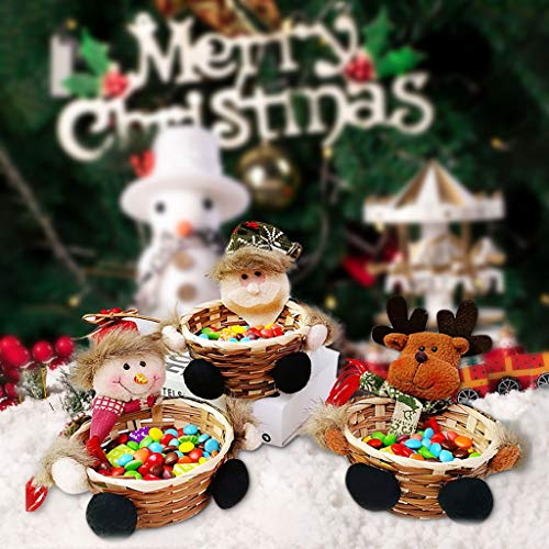 vijTIAN Christmas Candy Basket Storage Bowl Santa Claus Snowman Deer Design Candy Desert Bamboo Storage Jar Holders Ornaments Gifts Decorations Home Festival Xmas Decor Small Size
