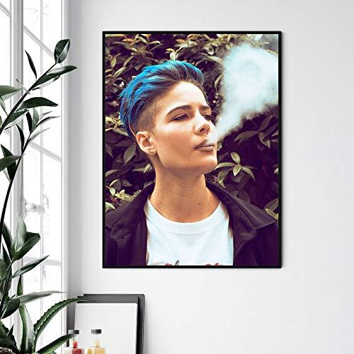 KWzEQ Musikplakat Rapper rauchendes Plakat und Druckwandgemälde Wanddekoration,Rahmenlose Malerei,40X60cm