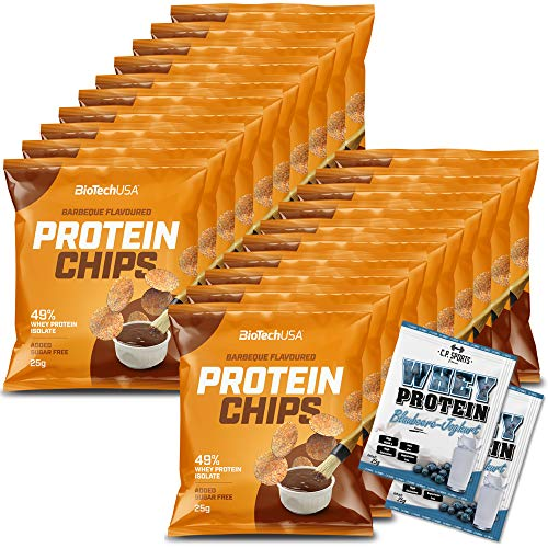 BioTech USA 20x Protein Chips 25g Barbecue Geschmack + 2x Probenbeutel C.P.Sports Whey Protein 25g Sport Training Fitness Snack Salz Isolat