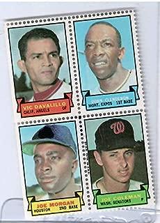 1969 Topps Baseball Stamps Vic Davalillo-Don Clendenon-Joe Morgan-Joe Coleman 4 Stamp Panel