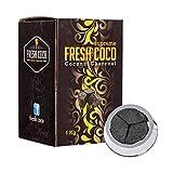 Fresh coco Supreme Charbon Chicha Naturel Supérieur 1 kg Compatible système de Chauffe Type Kaloud 72 Morceaux pour Narguilé Shisha