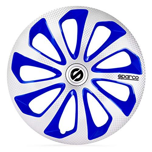 Satz Sparco Radzierblenden Sicilia 15-Zoll Silber/Blau/Karbon