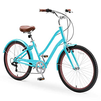 """sixthreezero EVRYjourney Casual Edition Women's 7-Speed Step-Through Touring Hybrid Bike, 26"""" Bicycle, Teal with Brown Seat and Brown Grips"""