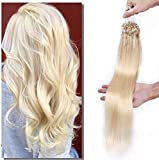 Elailite Extensiones Cabello Natural Anillas Micro Ring Pelo Humano sin Clip 50g Remy Human Hair 100 mechas Largas 45cm #60 Rubio Platino