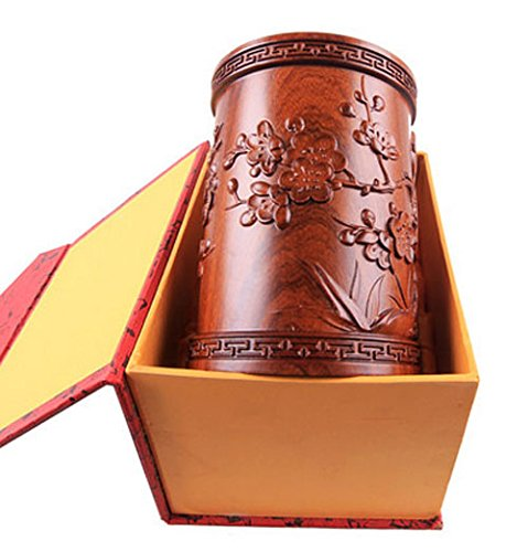 High-grade Red Sandal Wood Chinese Writing Brush Pot Pen & Pencil Container/holder/case Carving Magpies and Plum Flower with Box Home & Office Decor