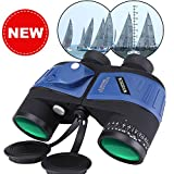 Binocolo Militare Marino 10X50 per Aadulti, Binocoli Impermeabile con Bussola Telemetro Obiettivo BAK4 Prisma FMC per Birdwatching Caccia Nautica