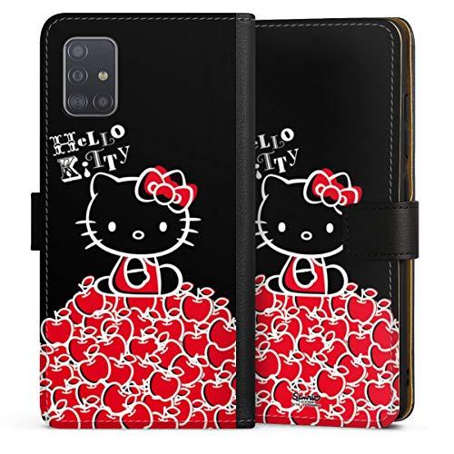 DeinDesign Klapphülle kompatibel mit Samsung Galaxy A51 Handyhülle aus Leder schwarz Flip Case Apfel Fanartikel Hello Kitty