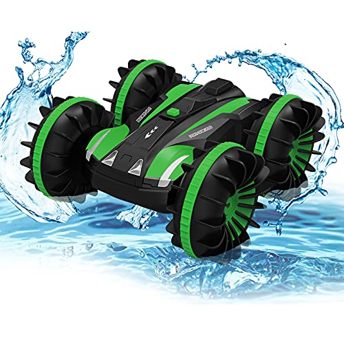 Amphibious Remote Control Vehicle - RC Car for Kids, 2.4 GHz Radio Controlled Boat Waterproof RC Car 4WD Remote Control Stunt Cars, All Terrain Water Beach Pool Toy Best Gifts for Boys & Girls (Green)