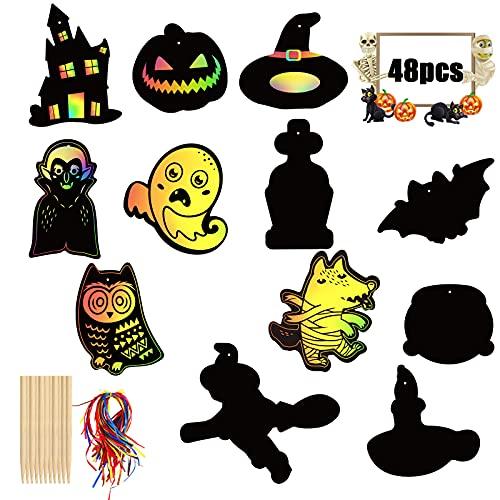 BAMZOK 48 Stück Halloween Kratzbilder Bastelset Regenbogen Scratch Papier Scratch Art Blätter Craft Kit Kürbis Ghost Bat Ornament zum Basteln Kinder DIY Rubbelkarte