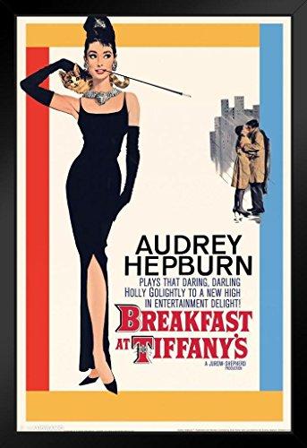 Pyramid America Breakfast at Tiffanys Audrey Hepburn Movie Black Wood Framed Poster 14x20