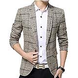 ODFMCE ジャケット メンズ スーツ テーラードジャケット ビジネス カジュアル 紳士 スリム おおきいサイズ (カーキ, XXL)