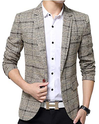 ODFMCE ジャケット メンズ スーツ テーラードジャケット ビジネス カジュアル 紳士 スリム おおきいサイズ (カーキ, L)