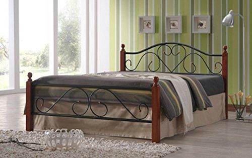 PEGANE Lit Design en Metal Noir, Pieds de lit en Bois malaisiens Brun foncé, Dim: 180 x 200 cm