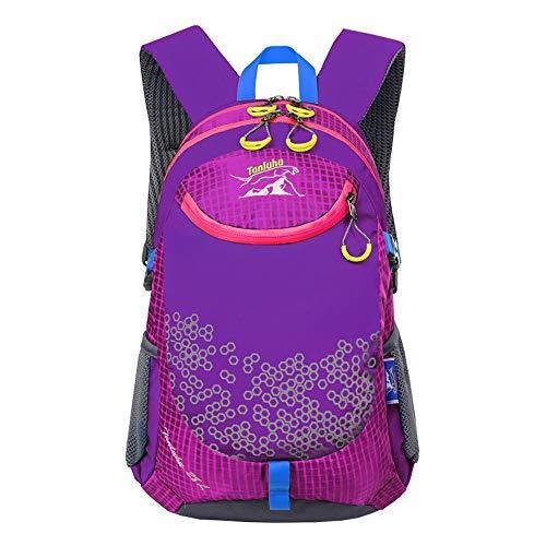 HTMAL Children's School Bag Ultra-Licht Waterdichte Sport en Vrije tijd Reistas Outdoor Reizen Wandelen Riding Heren Schoudertas Grote Capaciteit Waterdichte Slijtvaste Ademende Reistas Paars