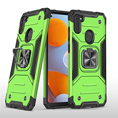Capa XYX compatível com Galaxy A11 com suporte de anel de metal com rotação de 360 para carro magnético compatível com Samsung A11 – Verde