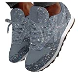 Dainzuy Women's Low Top Lace-Up Glitter Sports Running Sneakers Casual Breathable Crystal Bling Slip On Fashion Sneakers Silver