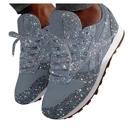 FACAIAFALO Zapatillas Deportivas De Mujer Gimnasio Zapatos Para Caminar Aptitud Plataforma Sneakers Con Cordones Zapatillas De Deporte De Lentejuelas De Cristal Transpirables Informales De Moda