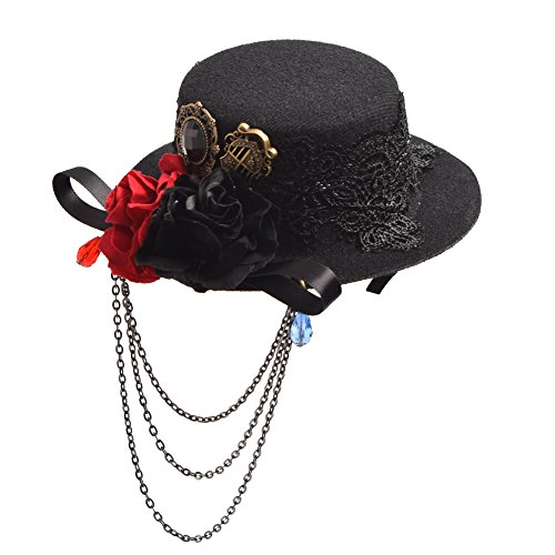 "Steampunk, Gothic Headwear Gears,Butterfly,Wing,Chain Tassel Feather,Veil,Mesh Size: about 13.5*7.5cm/5*3""(Please allow 1-2cm/inch deviation of manual measurement!)"