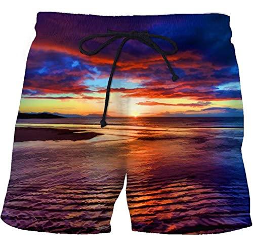 APCHYWEII Pantalones Cortos De Playa para Vacaciones De Verano para Hombre Superficie del Mar Bajo La Puesta De Sol-D_3XL