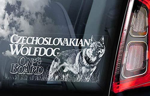 Calcomanía de vinilo para ventana de coche con diseño de perro lobo checoslovaco a bordo de Vlcak Cane Lupo Cecoslovacco calcomanías troqueladas divertidas pegatinas para laptop Bumper 14